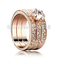 Vente en gros Italina Rigant Rhinestone Crystal 3-Row Channel Set Heart 3-en-1 Wedding Engagement Rings for Women 18K plaqué or