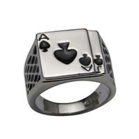 schwarze emaillierte schmucksachen großhandel-2014 Hotsale Cool Herrenschmuck Chunky 18 Karat Weißgold Überzogen Schwarz Emaille Spaten Poker Ring Männer