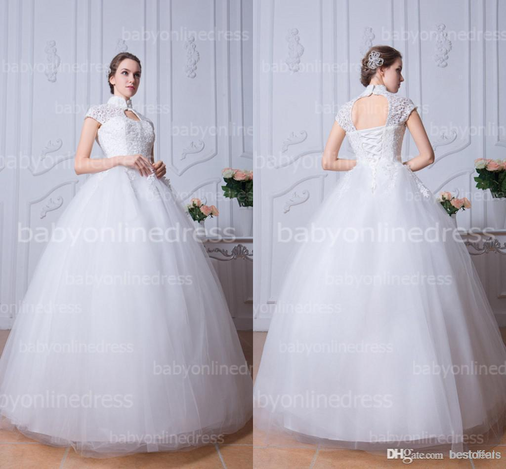 High Collar White Ball Gown Tulle Wedding Dresses Cap Sleeves ...