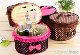 Discount nylon makeup box - New Cosmetic Bags Dots Lace Bowknot Makeup Bag Cases Large Capacity Portable Storage Bags handbag mixed colors mirror Wa