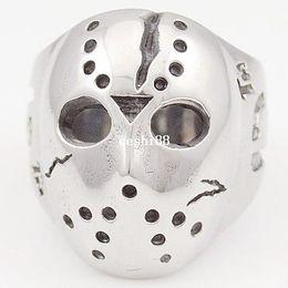 Anello di maschera nera online-Black Friday Hockey Jason Mask Skull Rings Novel Mens 316L Gioielli in acciaio inossidabile, ROCK, Biker, trasporto all'ingrosso e libero VR063