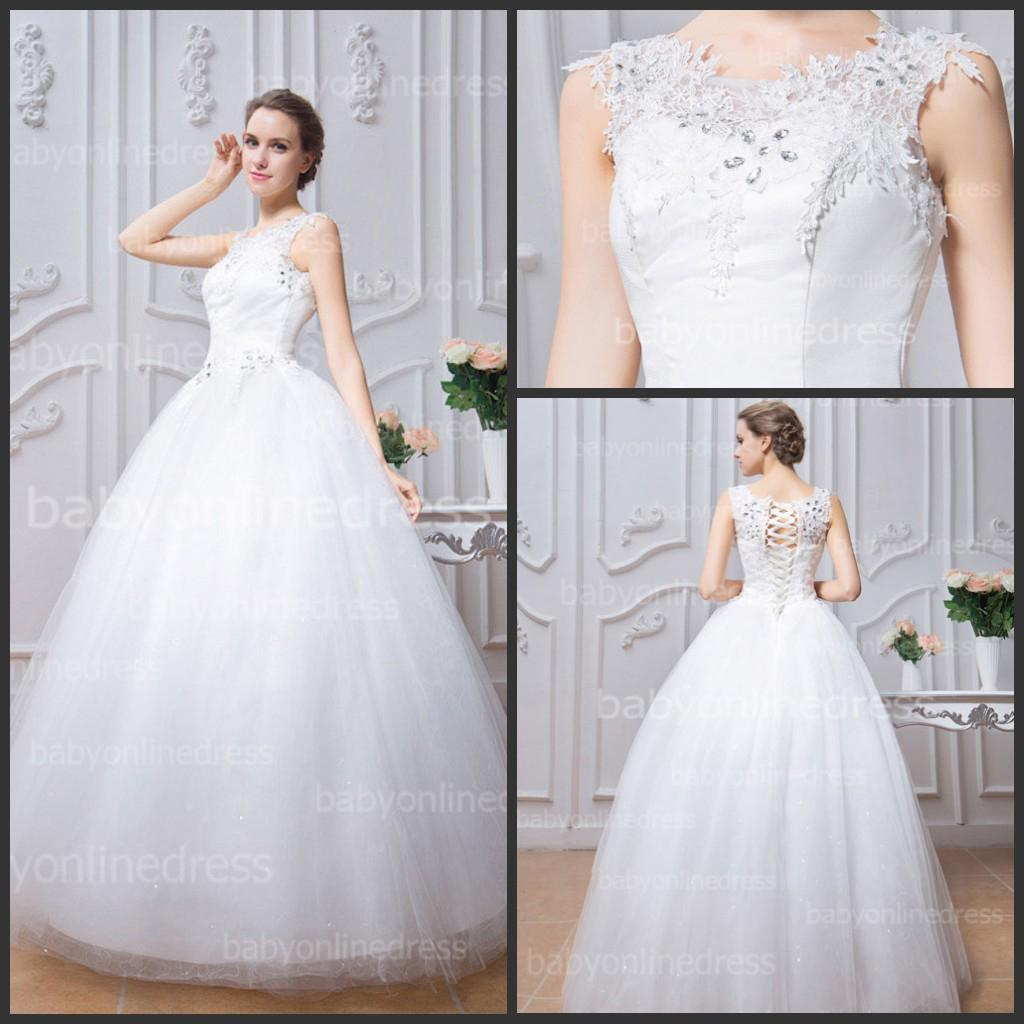 Crystal Lace Wedding Dresses White Crew Neck Cap Sleeves Lace Up Back A  Line Beach Tulle Bridal Gowns Low Price Under $100 Bzp0381 Wedding Dress  Couture ...