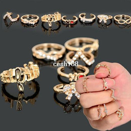 Wholesale Wholesale Stacking Rings - 14pcs(2sets) Gold P Punk Bowknot Infinity Cross Crystal Stack Knuckle Midi Mid Rings Set Ring Jewelry Drop Free