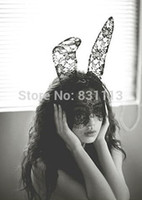 Wholesale Black Bunny Mask - 1pc Lady gaga lace rabbit bunny ears veil hair bands headbands for bridal wedding black mask Christmas halloween party