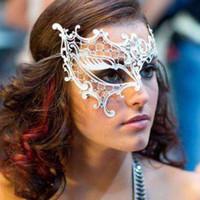Wholesale Laser Cut Metal Masquerade Mask - Free Shipping Phantom Rhinestone Laser Cut Metal Venetian Masquerade Mask Women Party Ball white sexy half face mask