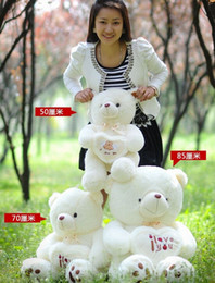 Wholesale Giant Teddy Free - Wholesale-Hot sell Beige Giant Big Plush Teddy Bear Soft Gift for Valentine Day Birthday free shipping