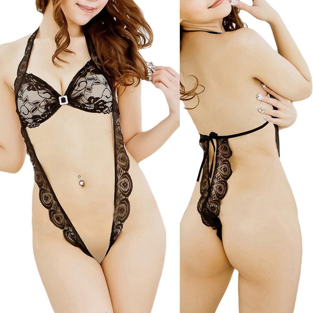 S5q Women'S Sexy Underwear Black Lace Bodysuit Lingerie Ladies ...