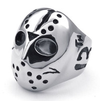 Wholesale Mask Ring Silver - Men Silver Cool Friday the 13th Casting The mask of Jack Burrell Stainless Steel Ring 10022553