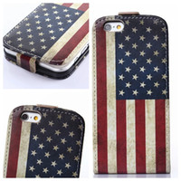 Wholesale Iphone Usa Flag Case - Flower Verticle Flip Leather Case For iphone 6 Air 6G 4.7' Owl USA UK Flag Credit Card Slots free shipping