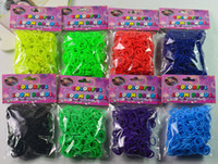 Wholesale wholesale rainbow loom kits - Rainbow Loom Kit DIY Wrist Bands Rainbow Loom Bracelet for kids bands S clips Braided fluorescent rubber band set