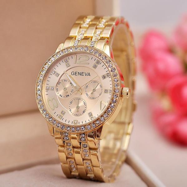 Quartz Männer Von Round Herrenuhr Armbanduhr Uhren Geneva Gold Mode Für Großhandel Frauen Mens Genf Crystal Edelstahl New Diamond tdhsxrQC