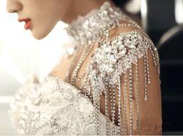Boda de lujo joyería nupcial Hombro Cadena Collar de cristal espumoso Adornos nupciales Boda Accesorio desde fabricantes