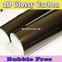 Wholesale Gold Carbon Fiber Wrap - Gold 2D Gloss Carbon Fiber Vinyl Wrap Carbon Fiber Film For Car Wrap Vehicle Wrap Sticker Air bubble Free size:1.52x30m Roll Free Shipping