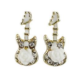 Wholesale Drop Guitar - Enamel Rhinestone Flower and Guitar Decoraion Mysterious Drop Earrings wholesale Jewelry for Women  New Coming