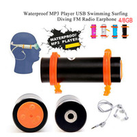 Wholesale mp3 diving 8gb resale online - 10pcs DHL Waterproof MP3 Player G IP IPX8 with FM Radio Earphone for Underwater Sports Swimming Diving MP3 Music Player