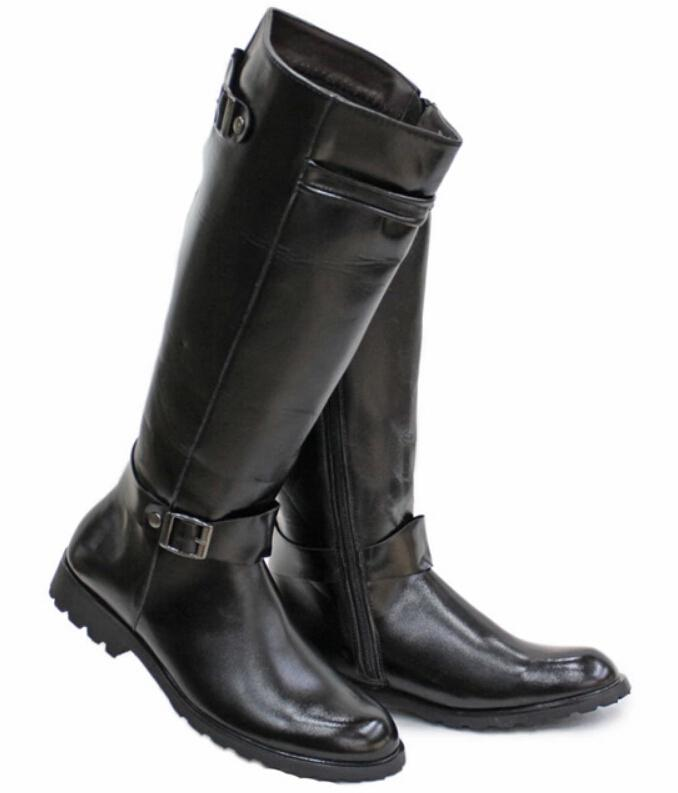 7ac4a5a6cda Black Men s Shoes Knee-High Boots,Punk Buckle Pleated PU Leather Zipper  Winter Outdoor Casual Martin Cowboy Boots,US Size 6.5-10