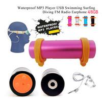schwimmen mp3 ohrhörer großhandel-Wasserdichter MP3-Player 8G IP * 8 IPX8 mit FM-Radio-Kopfhörer für Unterwassersport Schwimmen Tauchen MP3 Musik-Player Kopfhörer Headsets