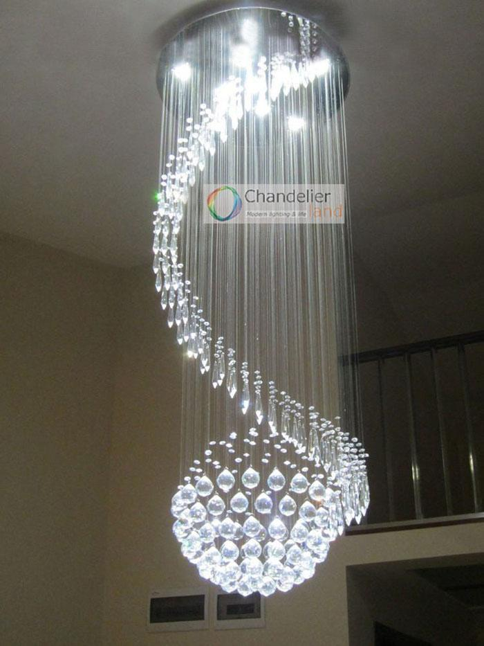 5 Lights W21 5 X H59 Crystal Chandelier Spiral And Sphere