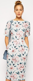 Wholesale Pencil Wiggle Dresses - Hot Sale In Pastel Floral Print Wiggle Dress Elegant Women Work Dresses 14119