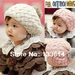 Wholesale Crochet Baby Beret Hat - Kids Girls Baby Handmade Hat Crochet Knitting Beret Hats Caps Cute Winter Beanie Free&Drop Shipping
