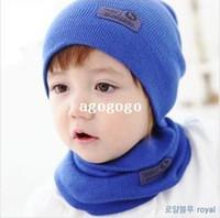 moda inverno Cap neonate   ragazzi cappello caldo dei bambini del cappello  e sciarpa set c0933a16890f
