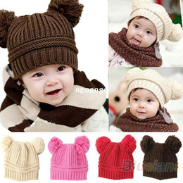 Wholesale Korean Sweater Fashion Boys - 2014 Korean New Fashion Baby Girls Boys Kids Children Dual Ball Knit Sweater Cap Hats Winter Warm Knitted