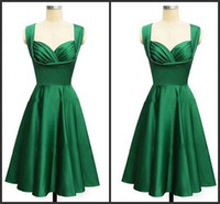 Wholesale Gorgeous Satin Dresses - Gorgeous 2017 style emerald green knee-length cocktail or homecoming free shipping prom & evening dress formal long vestidos de noiva