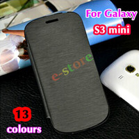 Wholesale Galaxy S3 Flip Cover Battery - Flip leather back cover case original battery housing case protector for Samsung Galaxy S 3 S3 SIII Mini i8190 8190