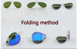 Discount folding sunglasses - New Style Folding Sunglasses unisex Sunglasses Mens Womens colorized lens glasses Mirror Folding Sunglasses glass Lens g