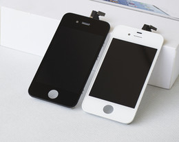 Wholesale Iphone 4s Lcd Replacement Screens - 100% High quality Front Assembly retina LCD Display Touch Screen Digitizer Replacement Part for iphone 4 4S Black White Free DHL