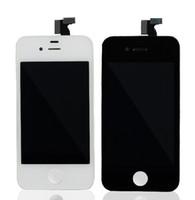 iphone 4s branco lcd digitalizador tela venda por atacado-DHL frete grátis para frente Assembléia retina Display LCD Digitador Da Tela de Toque Parte de Reposição para o iphone 4 / 4S Preto / Branco 10 pcs