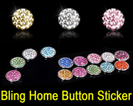 Wholesale Skins Ipad Stickers - Crystal Bling Home Button Sticker Skin with Retail Packaging for iPhone 6 6S Plus 6+ 5S 5C iPad Air 4 3 Mini