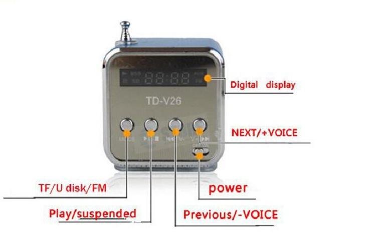 مكبر صوت رقمي صغير TD-V26 مكبر صوت محمول مربع الصوت USB دعم بطاقة TF / SD + راديو FM + U قرص LCD عرض 6 ألوان