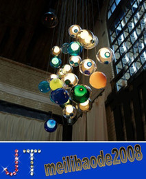 Wholesale Spheres Led Lamp - glass ball pendant lights chandelier of colorful glass spheres modern lamp crystal Penthouse Staircase chandeliers Stair Light HSA0549
