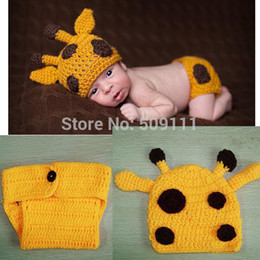 Wholesale Crochet Diapers - Hot style crochet baby set Knit Baby girl Hat + diaper sets kids photogryphy props Newborn Baby Deer Beanie 1set H255