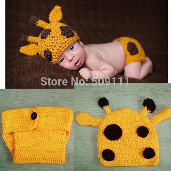 Stile caldo set neonato all'uncinetto Knit Baby girl Hat + pannolino set bambini puntelli di fotografia Newborn Baby Deer Beanie 1set H255