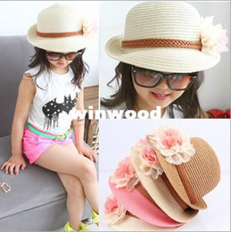 Wholesale Korean Straw Hats - Korean Girls Caps for Summer with Beautiful Flower Design Solid Straw Beach Hat Sun Hat Free Shipping 33023