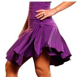 Wholesale Latin Dance Ruffle Dress - 2pcs lot 4 color Waist Knot Short Ball Gown Women Latin Salsa Rumba Cha-Cha Ballroom Costume Performance Dance Dress skirt tl022