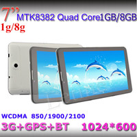 Wholesale Smartphone Phone Inch Bluetooth - 7 inch 3G Tablet PC 1GB RAM 8gb GPS Bluetooth MTK8382 Quad Core dual sim 1.3Ghz android 4.2 Smartphone Dual Sim 1024*600 Capacitive phablet