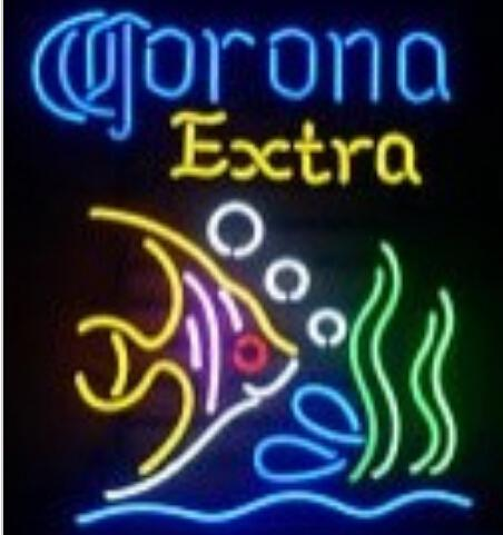 Nuova Corona Extra Tropical Fish Bar Pub Taverna Real Glass Neon Sign light Birra Sign 19x15in