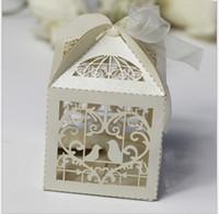 Wholesale Laser Cut Favor Boxes Bird - Free Shipping 50pcs lot 5x5x8cm Carton Candy Box Love Bird Laser Cut Candy Gift Boxes Wedding Party Favor Box