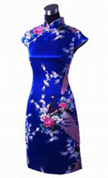 robe à motifs roses achat en gros de-Shanghai Story robe traditionnelle chinoise Qipao vintage mini robe chinoise modèle cheongsam robe de paon bleu pour femme