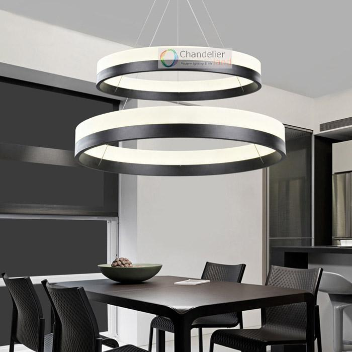 Two Sizes Modern Contemporary 2 Rings Pendant Light Ceiling Lamp Circles  LED Chandelier Dining Room Indoor Lighting Fixture Glass Chandelier Shades  ...