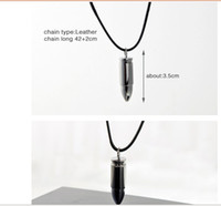 Wholesale Necklace Hidden - New fashion Mix Stainless Steel bullet genuine leather hide rope Necklaces & Pendants