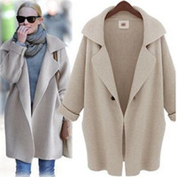 Wholesale 2016 New Loose Long Coat Vintage Fashion Women Winter Knitted Coat Ladies Long Sleeve Woolen Trench Coat Cardigan sweater Coat Outerwear W18