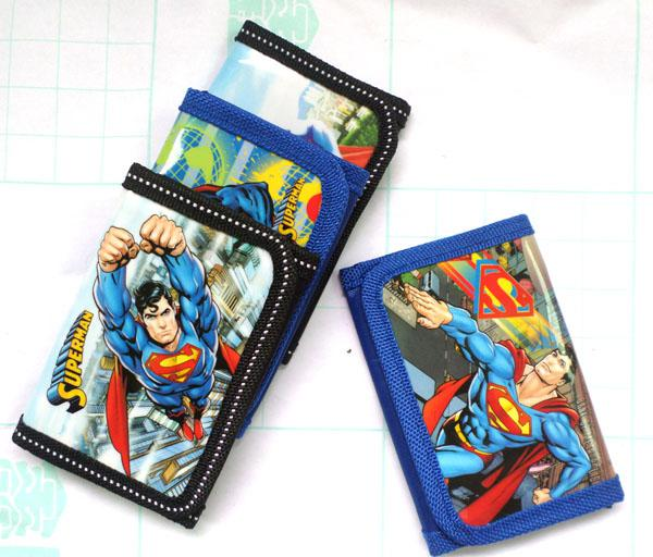 Free Shipping! Wholesale Lot of 48 pcs Superman Designs Tri-fold Wallet, Kids Cartoon Wallet/Purses, Kids Gift