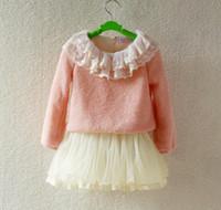 Wholesale Velvet Sweater Dress - Wholesale-Winter Children dress Girls sweater dress Wool sweater dress tutu skirt Thickened with velvet 5p l