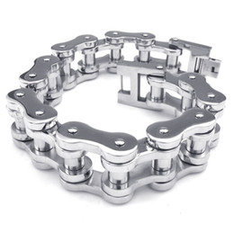Wholesale Stainless Steel Chains Punk Rock - 20mm Wide Heavy Shiny Polishing Mens 316L Stainless Steel Motorcycle Bike Chain Bracelets for Punk & Rock Bikers with No MOQ Requirements