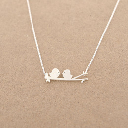 Wholesale Bird Branches Necklace - Min 1pc Gold and Silver Birds on a Branch Necklace, Love Birds Necklace XL018