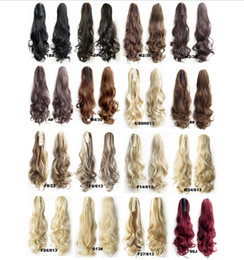 Wholesale Mixed Synthetic Hair Weave - Heat-resistant Wavy Synthetic Hair Ponytail Plastic Claw Ponytail Extensions Weave 22Inch 120g 16COLORS